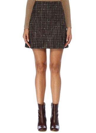 Kadın Kahverengi Çan Formlu Mini Tweed Etek 44 EU