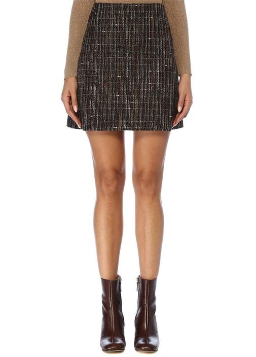 Kahverengi Çan Formlu Mini Tweed Etek