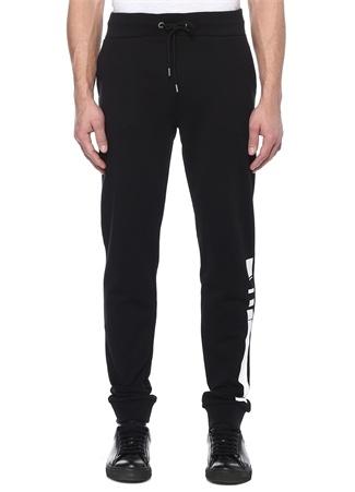 Siyah Beli Kordonlu Baskılı Jogger Pantolon