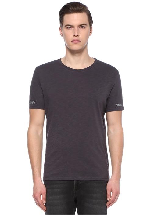 Inhale Exhale Antrasit Nakışlı Basic T-shirt