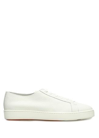 Santoni Sport Erkek Beyaz Dokulu Deri Sneaker 6.5 UK male