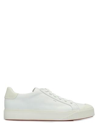 Santoni Sport Erkek Beyaz Taban Detaylı Deri Sneaker 8 UK male