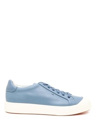 Santoni Sport Erkek Mavi Beyaz Deri Sneaker 9.5 UK male