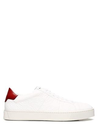 Santoni Sport Erkek Beyaz Logolu Deri Sneaker 6 UK male