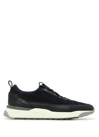 Santoni Sport Erkek Lacivert Süet Deri Sneaker 9.5 UK male