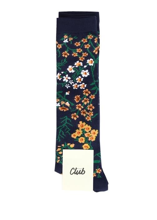 Lacivert Çiçek Desenli Kadın Diz Altı Çorap