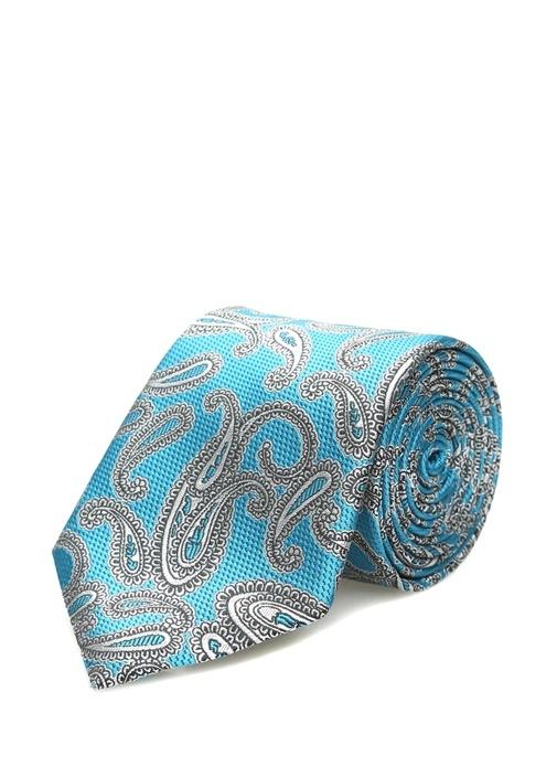 Mavi Mikro Desenli Kravat