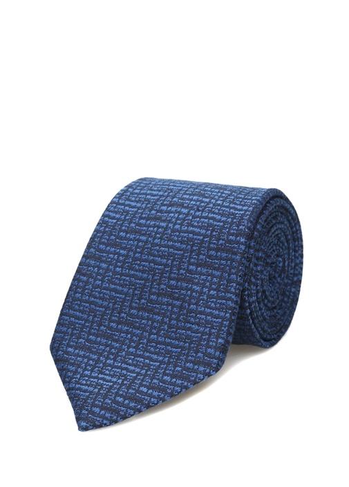 Lacivert Çizgi Desenli Kravat