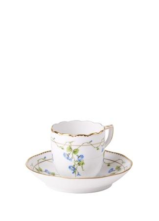 Herend Beyaz Çiçek Baskılı Porselen Kahve Fincanı Çok Renkli Standart