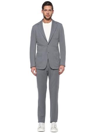Canali Erkek Gri Çizgi Dokulu Yün Takım Elbise 54 IT male