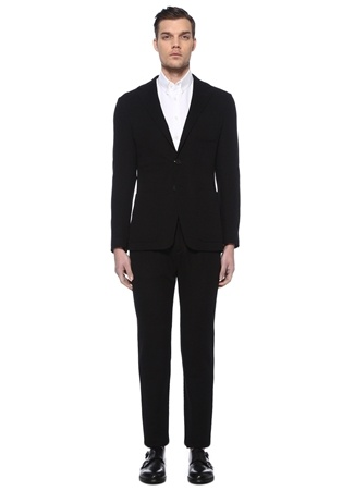 Canali Erkek Black Edition Çizgi Dokulu Yün Takım Elbise Siyah 56 IT male