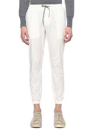 Beyaz Beli Kordonlu Jogger Pantolon