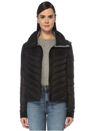 Canada Goose Kadın Hybridge Lacivert Kapüşonlu Logolu Puff Ceket Gri S EU