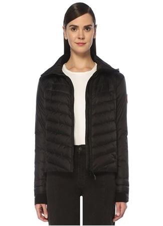 Canada Goose Kadın Hybridge Siyah Kapüşonlu Logolu Puff Ceket M EU