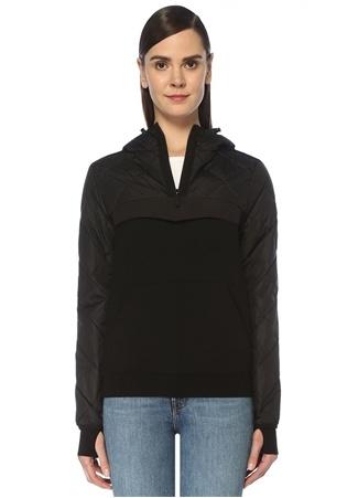 Canada Goose Kadın Hybridge Siyah Kapüşonlu Logolu Garnili Ceket M EU