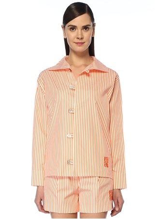 Kenzo Kadın Turuncu Beyaz Çizgili Tunik Gömlek 36 FR female