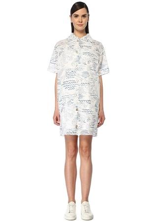 Kenzo Kadın Mavi Beyaz Nakışlı Kısa Kol Mini Tunik Elbise 34 FR female