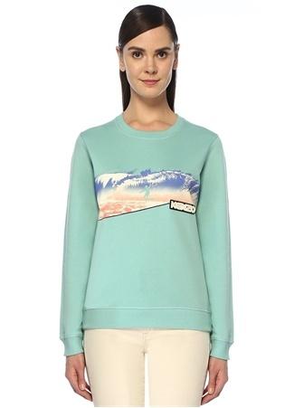 Kenzo Kadın Su Yeşili Baskılı Logo Patchli Sweatshirt 23456789 EU Tanımsız female