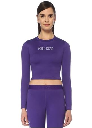 Kenzo Kadın Mor Logo Baskılı Crop Sweatshirt XS EU
