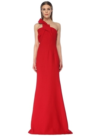 Roland Mouret Kadın Gosford Kırmızı Tek Omuzlu Maksi Krep Abiye Elbise US female 10