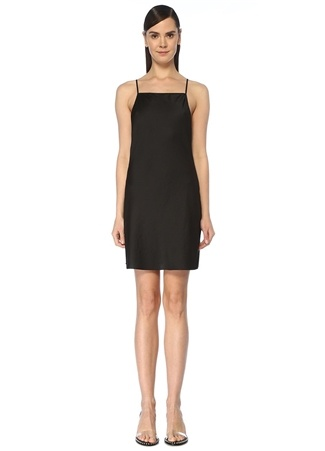 T by Alexander Wang Kadın Wash And Go Siyah İnce Askılı Mini Elbise S EU