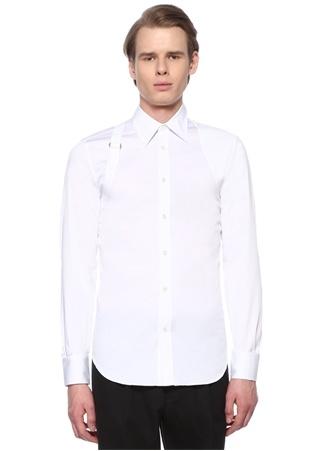 Alexander McQueen Erkek Beyaz Sivri Yaka Kemer Detaylı Dokulu Gömlek 5 2 IT male 15