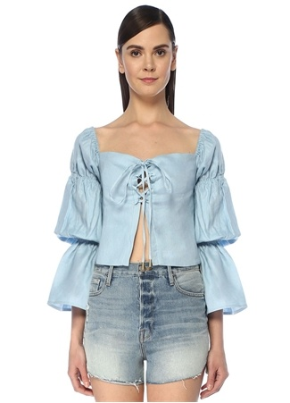 Cult Gaia Kadın Claire Mavi Önü Bağcıklı Balon Kol Keten Bluz XS EU