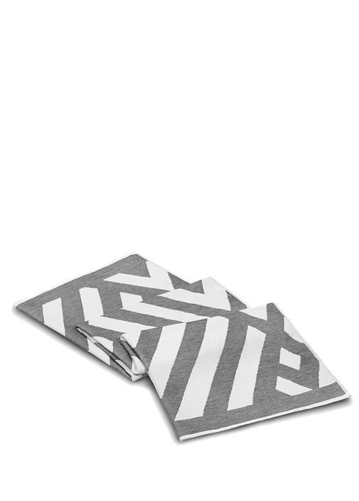 Geometric Fibrosoft Antrasit Beyaz PlajHavlusu