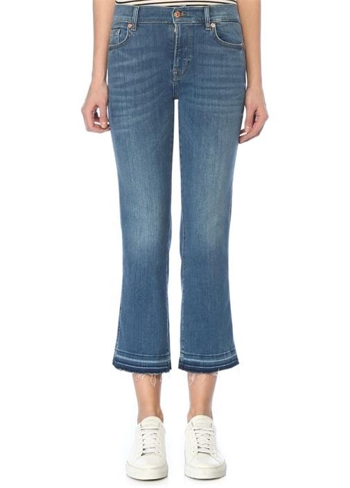 Normal Bel Crop Bootcut Jean Pantolon