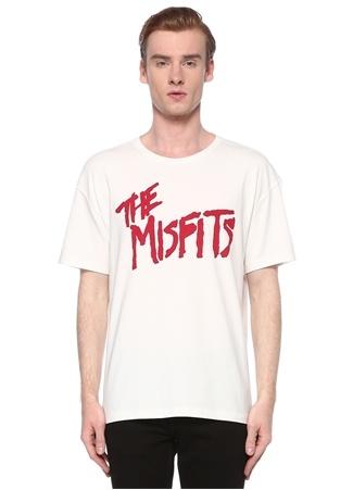 John Varvatos Star USA Erkek Beyaz Kırmızı Slogan Baskılı Basic T-shirt L EU male