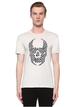 John Varvatos Star USA Erkek Beyaz Kurukafa Baskılı Dama Desenli T-shirt M EU male