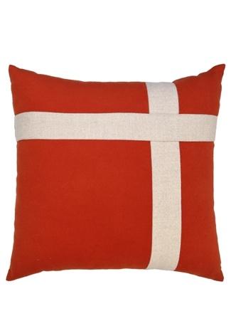 Beymen Home Artı Kırmızı Ekru 48x48 Yün Dekoratif Yastık Standart