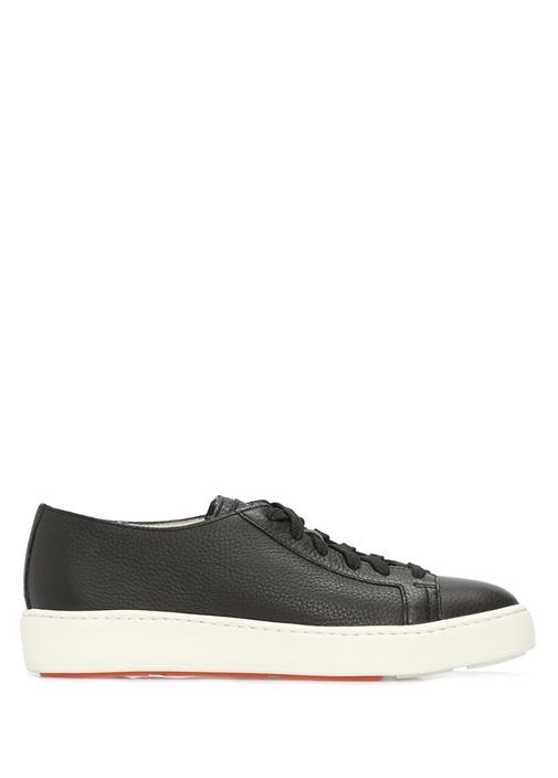 Siyah Dokulu Kadın Deri Sneaker