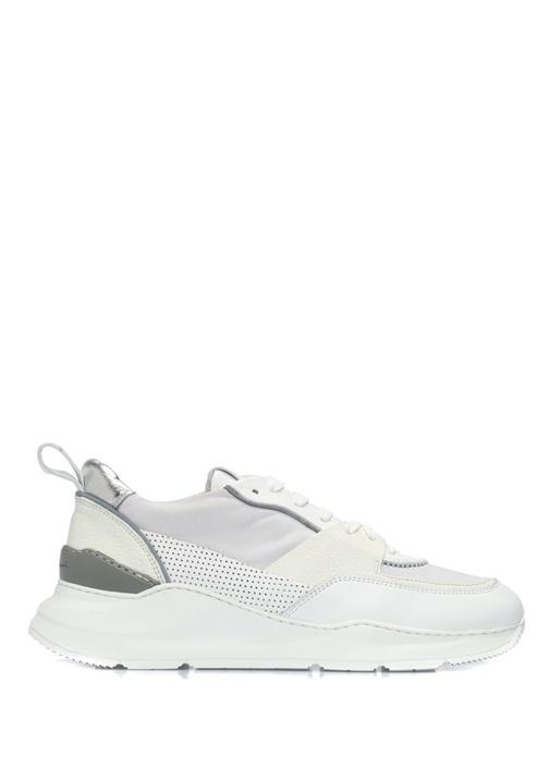 Beyaz Doku Detaylı Kadın Deri Sneaker