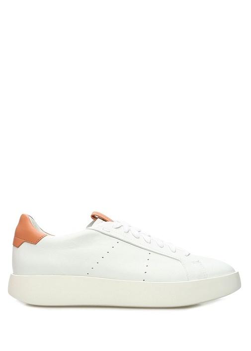 Beyaz Turuncu Kadın Deri Sneaker