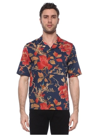 McQ Alexander McQueen Erkek Lacivert Kırmızı Kamp Yaka Çiçek Desenli Gömlek 52 IT male