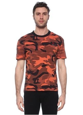 McQ Alexander McQueen Erkek Turuncu Kamuflaj Desenli Logolu Basic T-shirt EU male