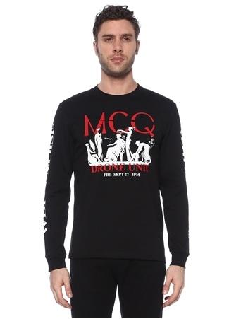 McQ Alexander McQueen Erkek Siyah Logo Baskılı Uzun Kollu T-shirt EU male