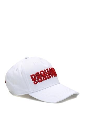 Dsquared2 Erkek Beyaz Logo Nakışlı Şapka Kırmızı EU male Standart