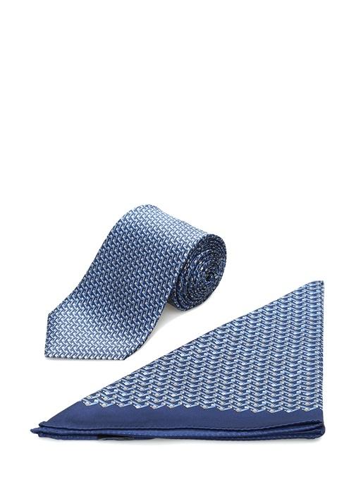 Mavi Baskılı İpek Poşet Mendil ve Kravat Seti