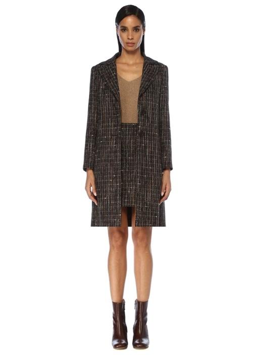 Kahverengi Kelebek Yaka Tweed Palto