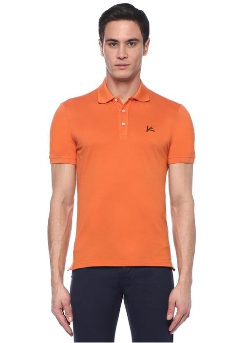 Turuncu Polo Yaka Dokulu T-shirt