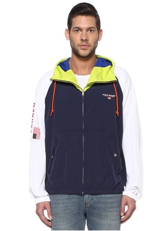 Polo Ralph Lauren Erkek Colorblocked Kapüşonlu Reglan Kollu Mont Lacivert XXL EU male