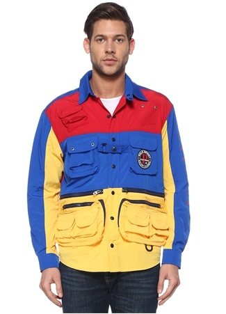 Polo Ralph Lauren Erkek Classic Fit Colorblocked Baskılı Patchli Mont EU Çok Renkli male
