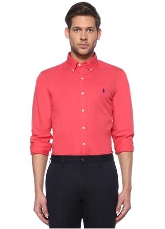 Polo Ralph Lauren Erkek Slim Fit Pembe Logo Nakışlı Gömlek XL EU male