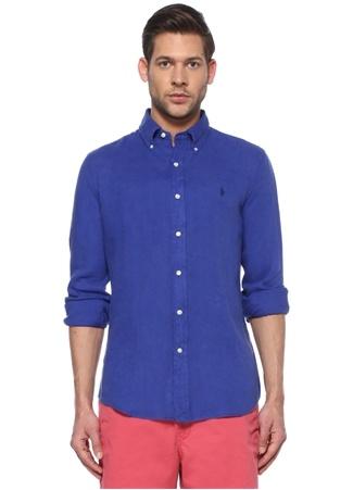 Polo Ralph Lauren Erkek Custom Fit Lacivert Logo Nakışlı Keten Gömlek Mavi EU male