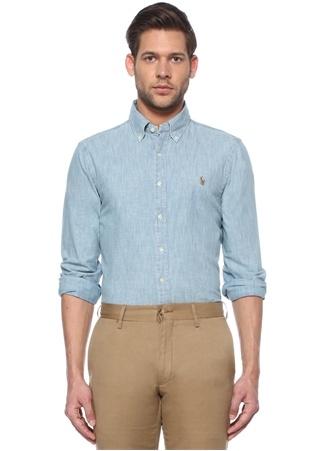 Polo Ralph Lauren Erkek Slim Fit Mavi Düğmeli Yaka Gömlek EU male