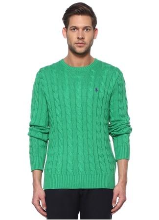 Polo Ralph Lauren Erkek Yeşil Örgü Dokulu Logo Nakışlı Kazak M EU male