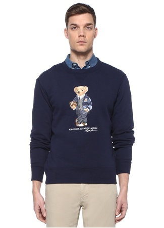 Polo Ralph Lauren Erkek Lacivert Ayıcık Baskılı Basic Sweatshirt M EU male