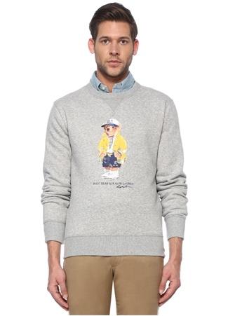 Polo Ralph Lauren Erkek Gri Ayıcık Baskılı Sweatshirt M EU male